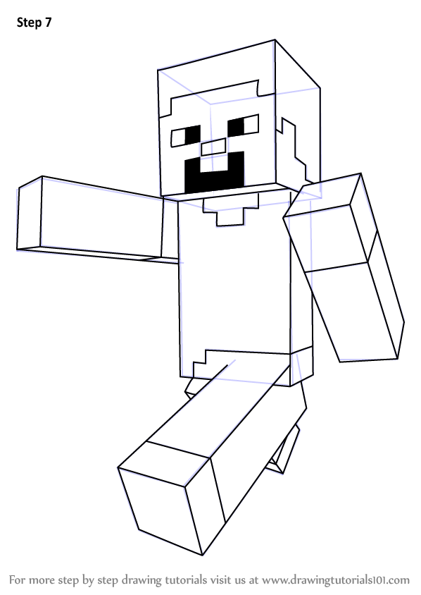 Learn How To Draw Steve From Minecraft Minecraft Step By