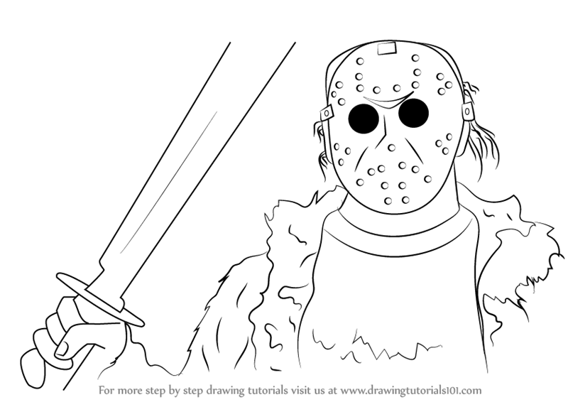 Step By Step How To Draw Jason Voorhees From Mortal Kombat X DrawingTutorials101