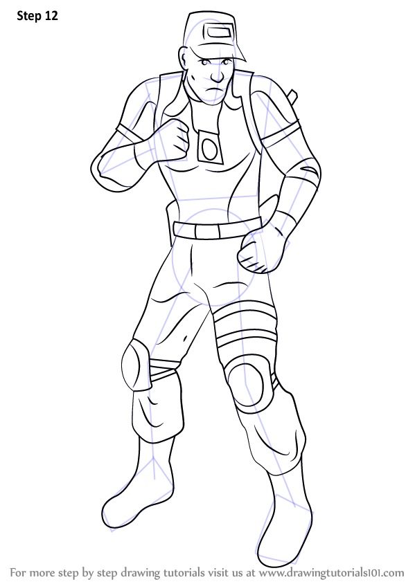 Step By Step How To Draw Kurtis Stryker From Mortal Kombat