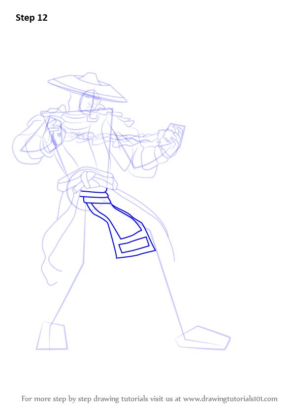 How To Draw Raiden From Mortal Kombat Step on The Feet Diagram