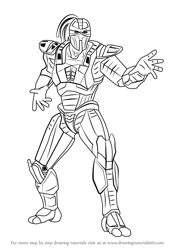 How To Draw Sektor From Mortal Kombat on black dress