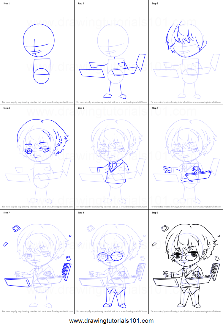 How To Draw Keyboard Guest From Mystic Messenger Printable Step By