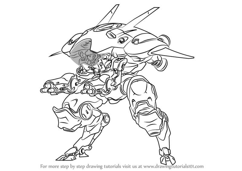 Learn how to draw d va from overwatch overwatch step by for Overwatch coloring pages