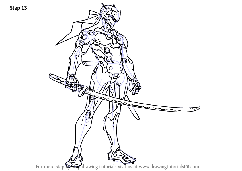learn how to draw genji from overwatch overwatch step by step drawing tutorials