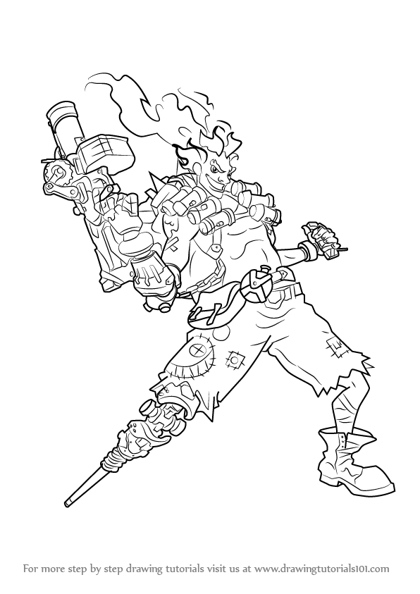 Learn how to draw junkrat from overwatch overwatch step for Overwatch coloring pages