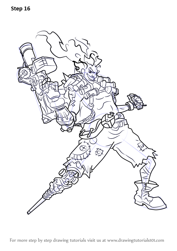 Learn how to draw junkrat from overwatch overwatch step for Overwatch genji coloring pages