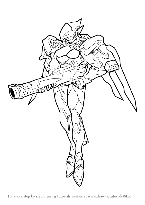 Learn how to draw pharah from overwatch overwatch step for Overwatch coloring pages