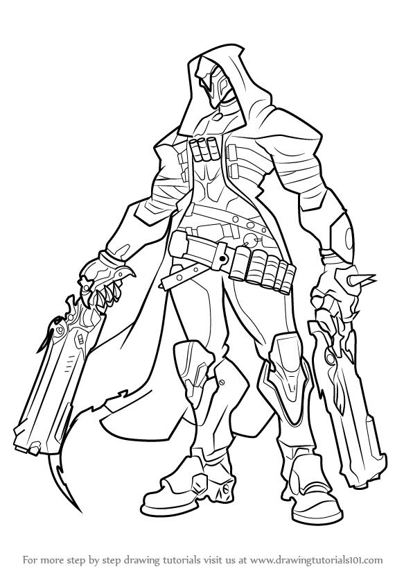 Learn how to draw reaper from overwatch overwatch step for Overwatch coloring pages