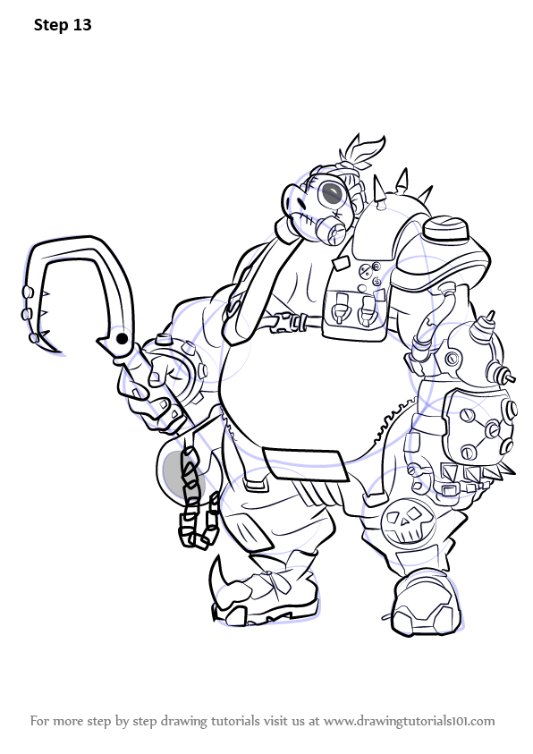 How To Draw Roadhog From Overwatch on Cat Mask Coloring Page 2