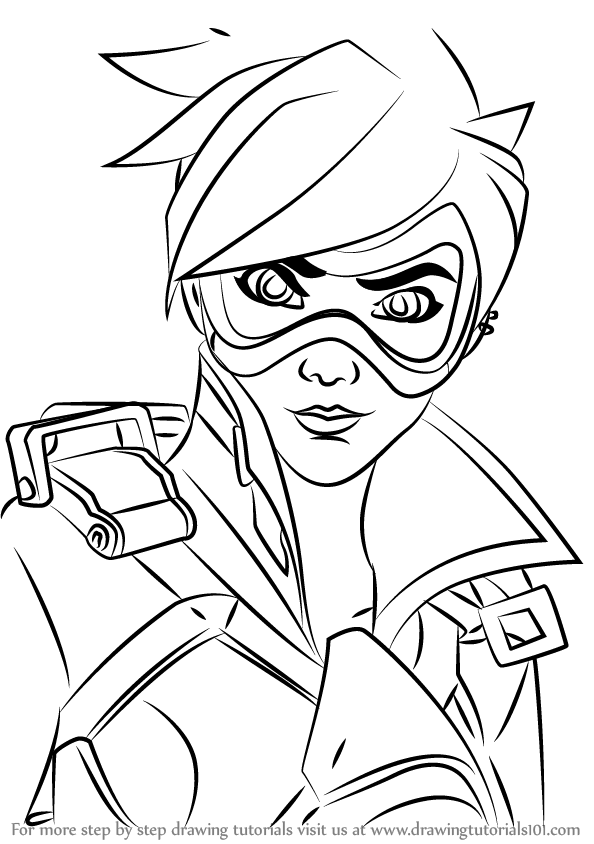 Learn how to draw tracer face from overwatch overwatch for Overwatch coloring pages
