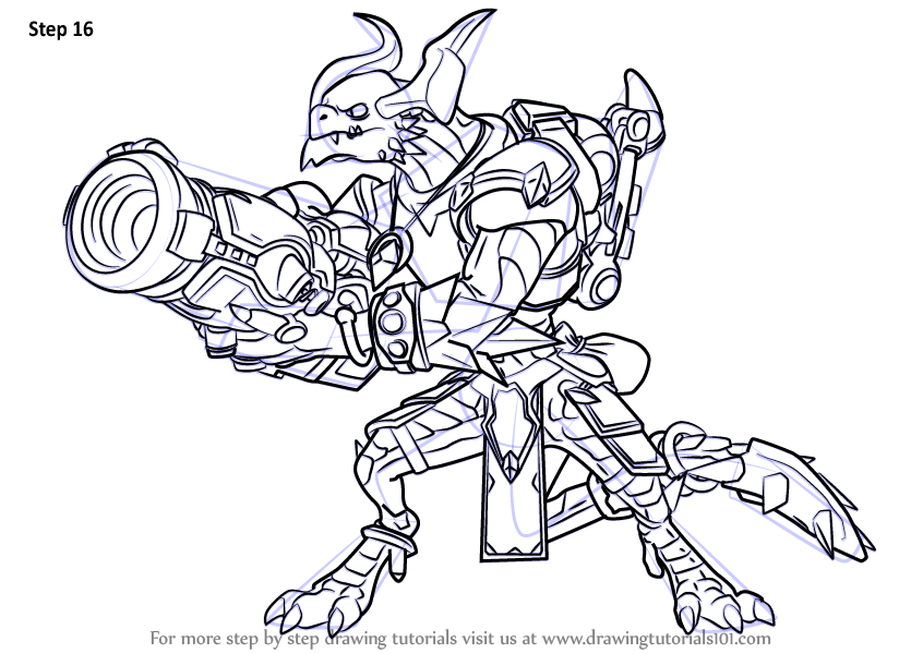Step By Step How To Draw Drogoz From Paladins