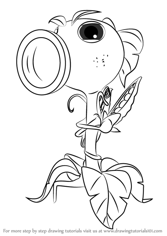 Learn how to draw peashooter from plants vs zombies for Pvz coloring pages