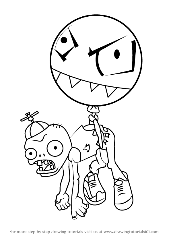 how to draw balloon zombie from plants vs zombies