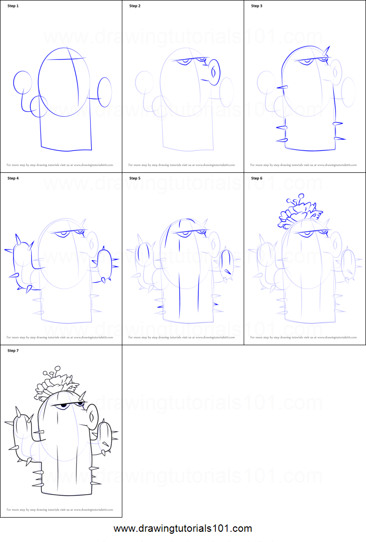 How to draw cactus from plants vs zombies printable step by step how to draw cactus from plants vs zombies printable step by step drawing sheet drawingtutorials101 ccuart Image collections