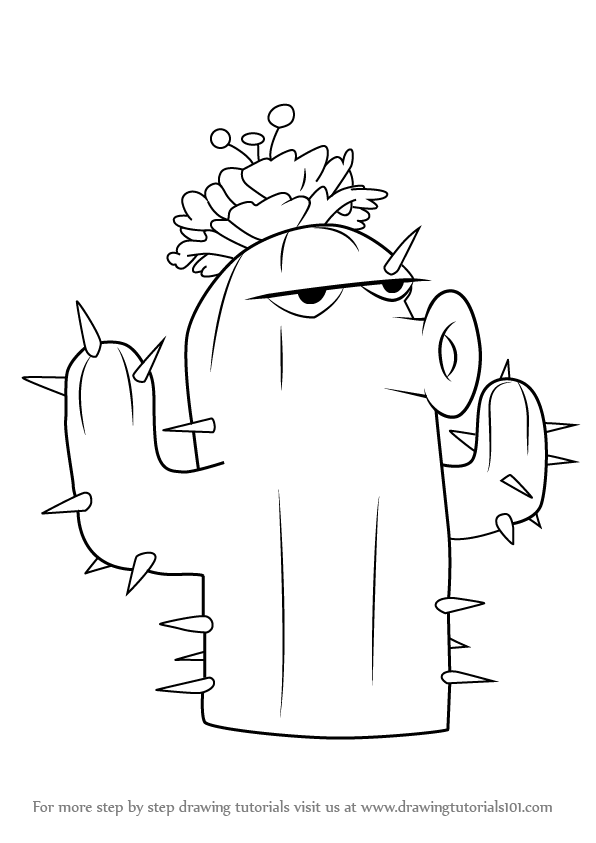 Learn How To Draw Cactus From Plants Vs Zombies Plants Vs Zombies