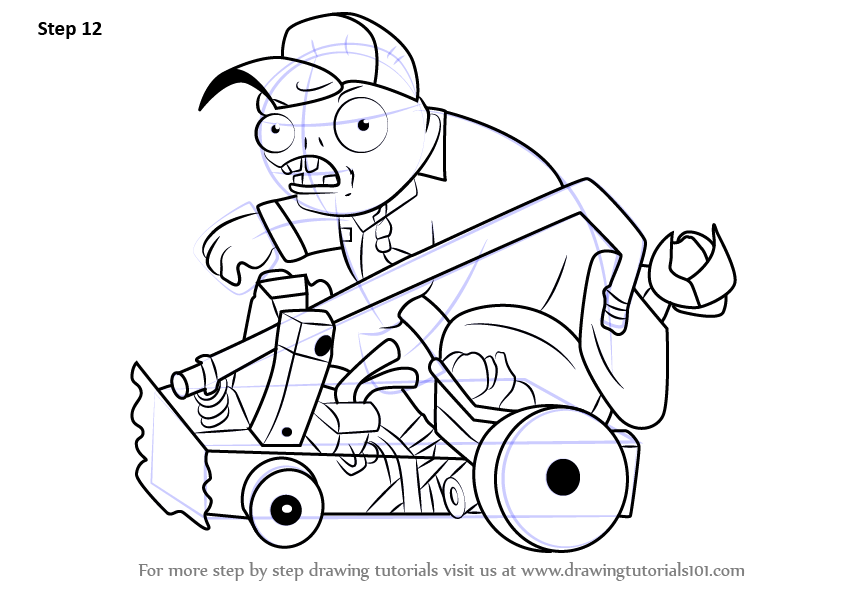 Step By Step How To Draw Catapult Baseball Zombie From