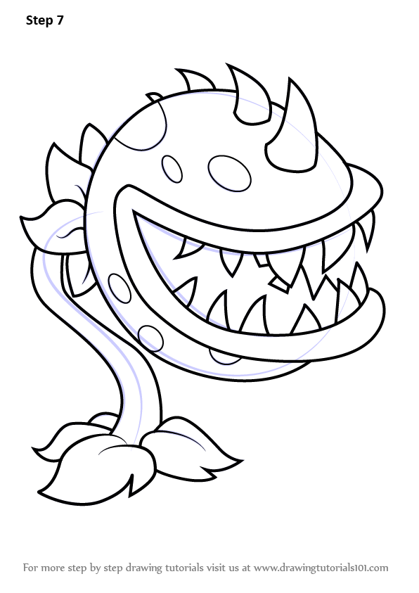 learn how to draw chomper from plants vs zombies  plants vs zombies  step by step drawing Chomper Land Before Time Coloring Pages  Chomper Coloring Pages