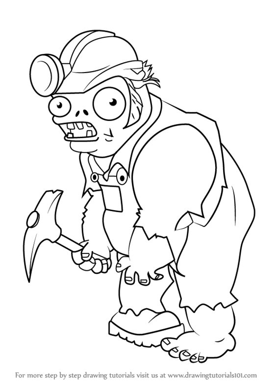 Learn How To Draw Digger Zombie From Plants Vs Zombies
