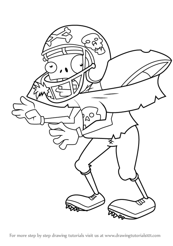 Learn How To Draw Football Zombie From Plants Vs Zombies Plants Vs
