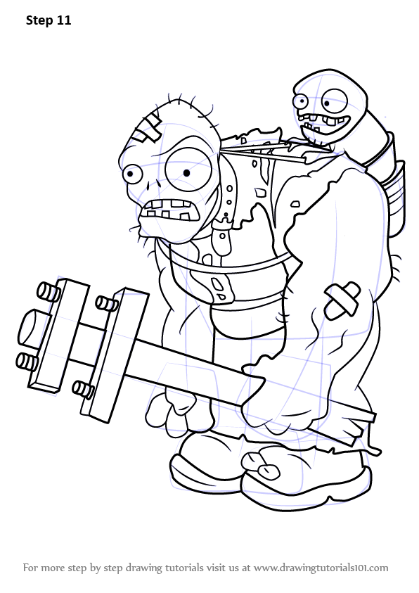 Learn how to draw gargantuar from plants vs zombies for Pvz coloring pages