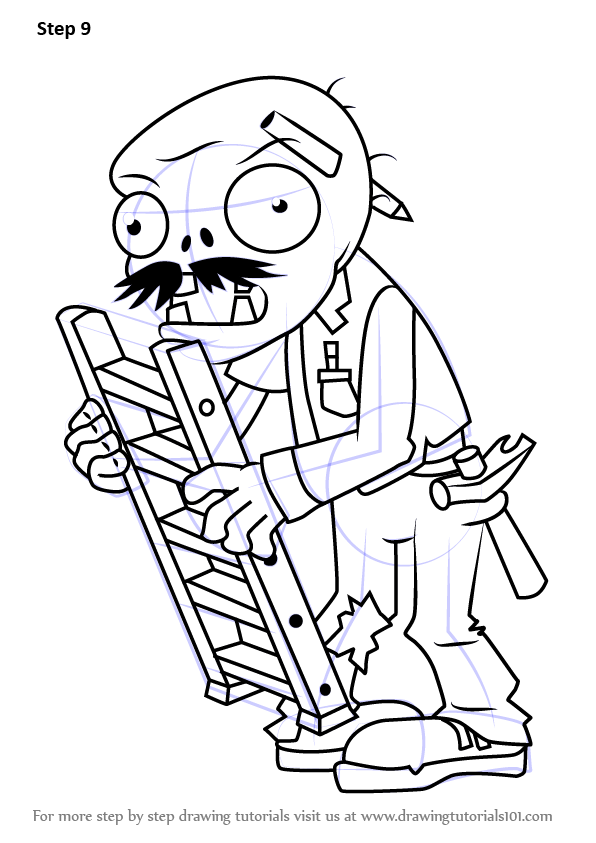 step by step how to draw ladder zombie from plants vs