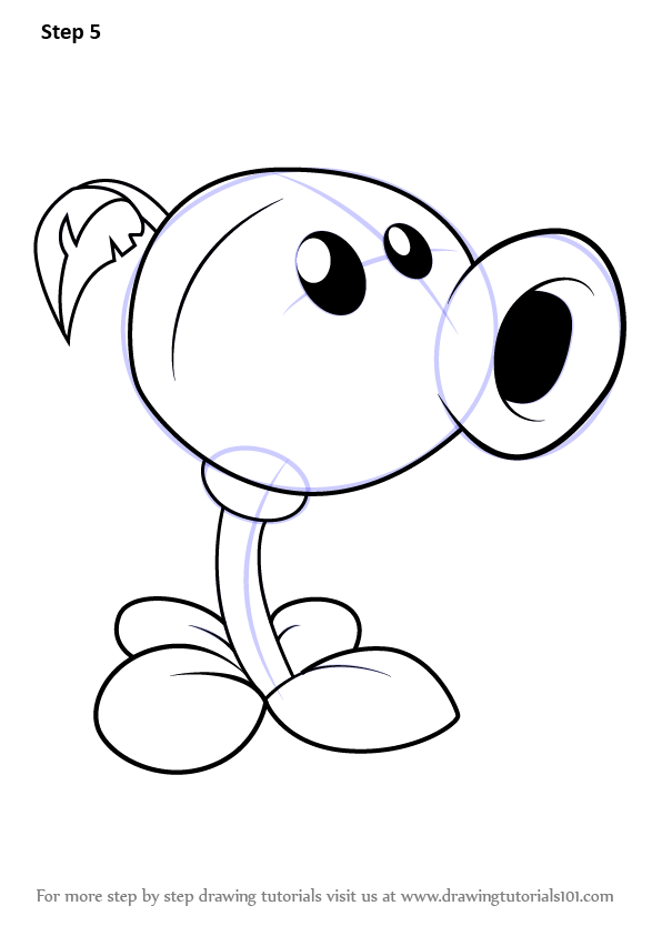 learn how to draw peashooter from plants vs zombies
