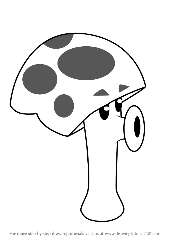 how to draw scaredy shroom from plants vs zombies