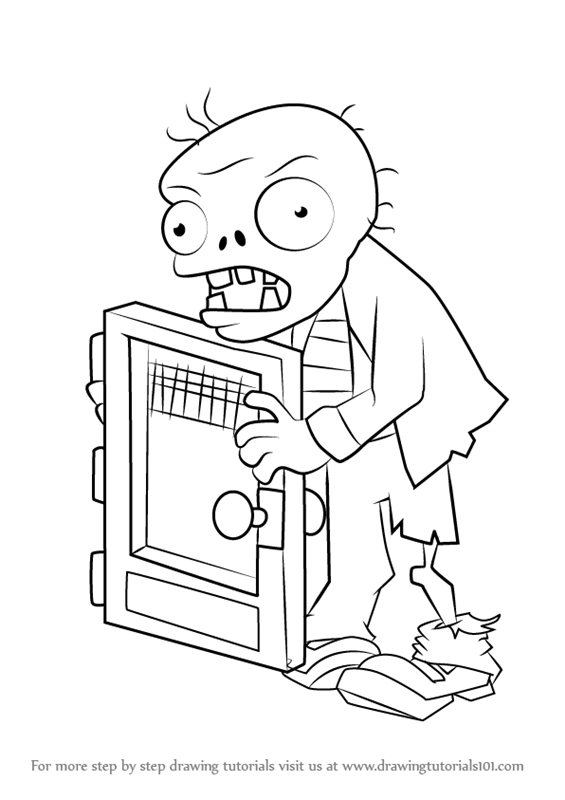 learn how to draw screen door zombie from plants vs