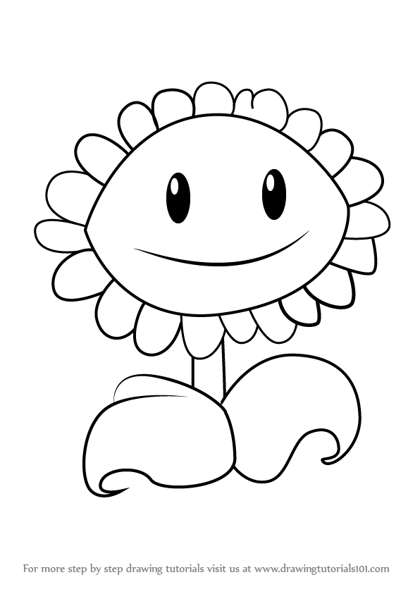 learn how to draw sunflower from plants vs zombies