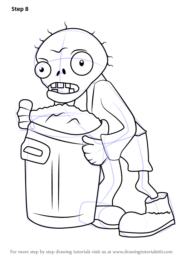step by step how to draw trash can zombie from plants vs