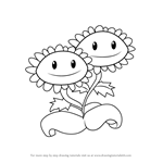 How to Draw Twin Sunflower from Plants vs. Zombies