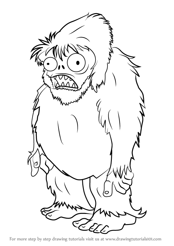 learn how to draw zombie yeti from plants vs zombies
