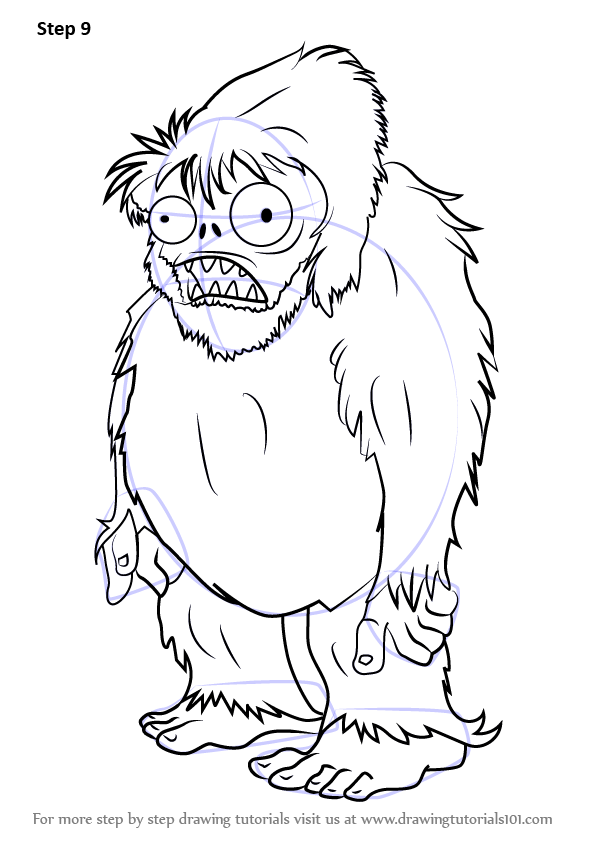 Learn How To Draw Zombie Yeti From Plants Vs Zombies Plants Vs Zombies Step By Step
