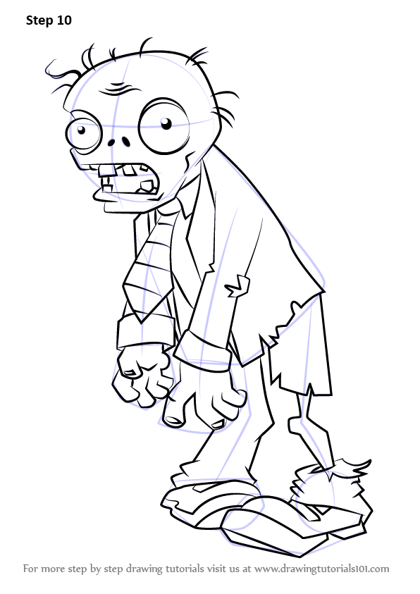 Step By Step How To Draw Zombie From Plants vs. Zombies
