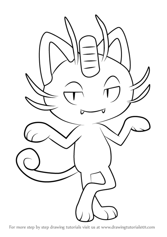 Step By Step How To Draw Alola Meowth From Pokemon Sun And