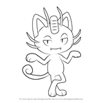 How to Draw Alola Meowth from Pokemon Sun and Moon