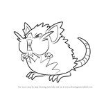 How to Draw Alola Raticate from Pokemon Sun and Moon