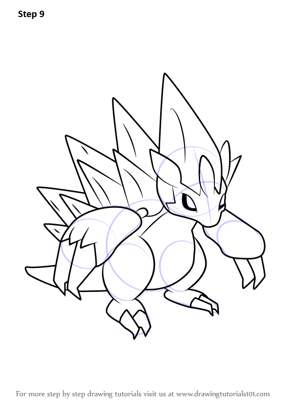 Step By Step How To Draw Alola Sandslash From Pokemon Sun