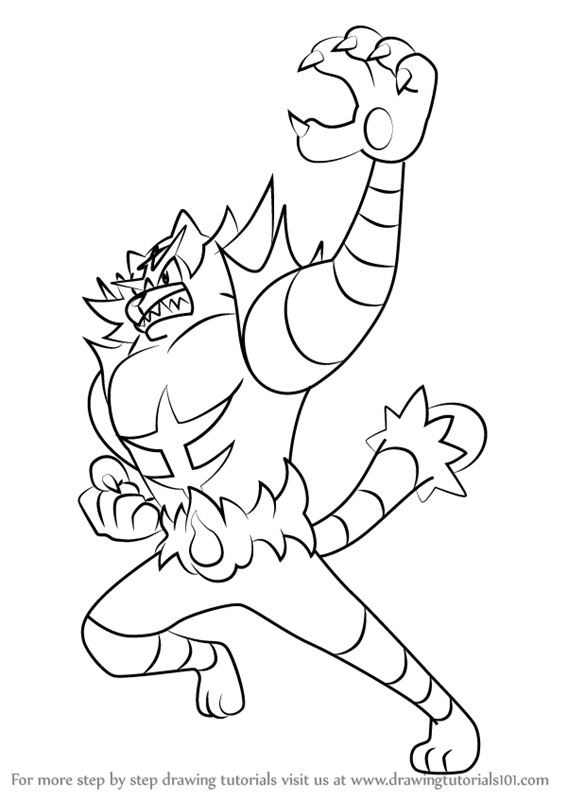 How To Draw Incineroar From Pokemon Sun And Moon