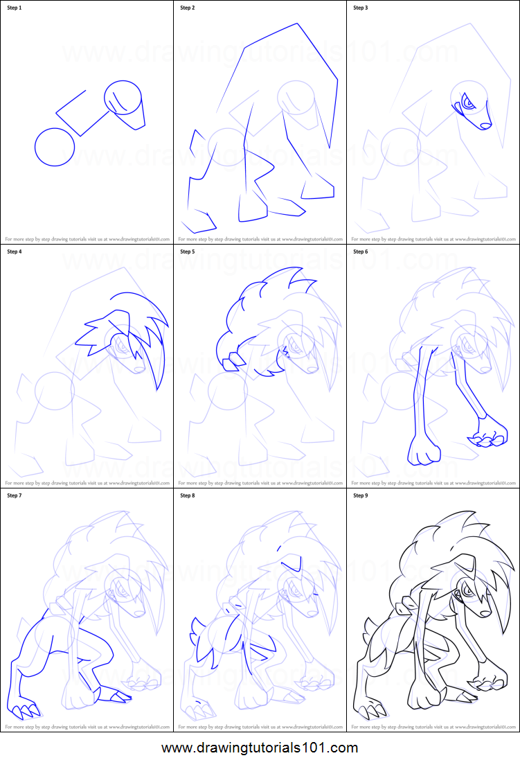 How to Draw Lycanroc - Midnight Form from Pokemon Sun and Moon ...
