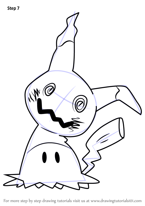 Step By How To Draw Mimikyu From Pokemon Sun And Moon DrawingTutorials101