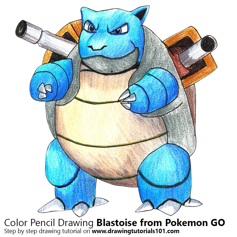 Blastoise from Pokemon GO Color Pencil Drawing