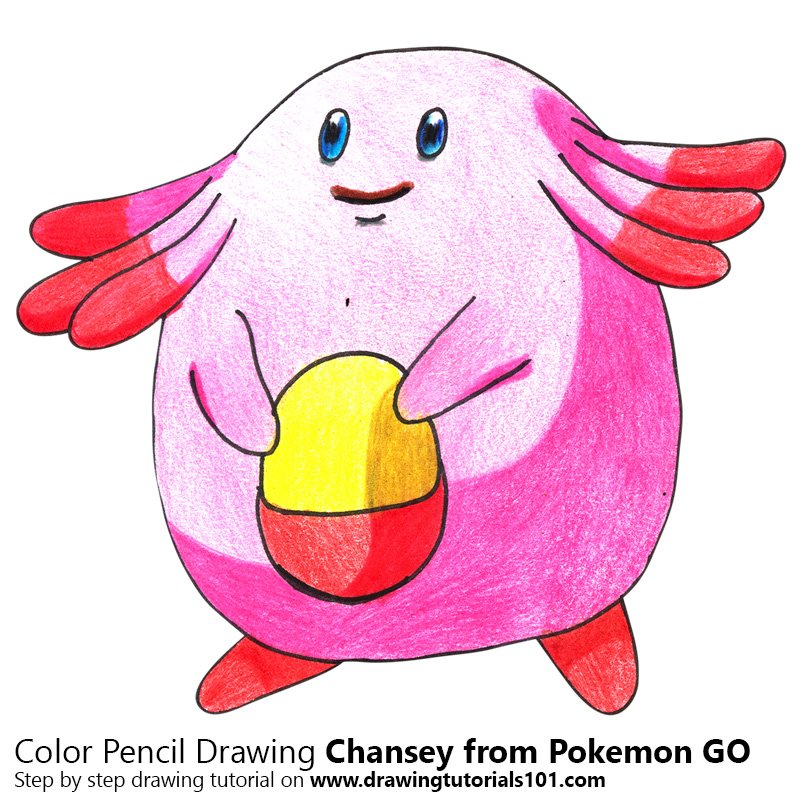 Chansey from Pokemon GO Color Pencil Drawing