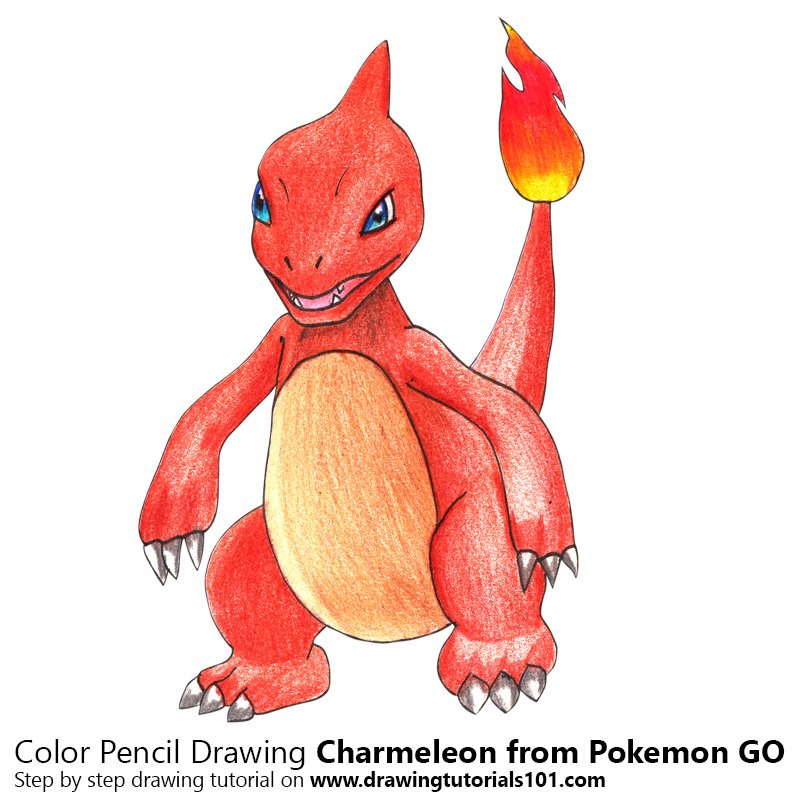 Charmeleon from Pokemon GO Color Pencil Drawing