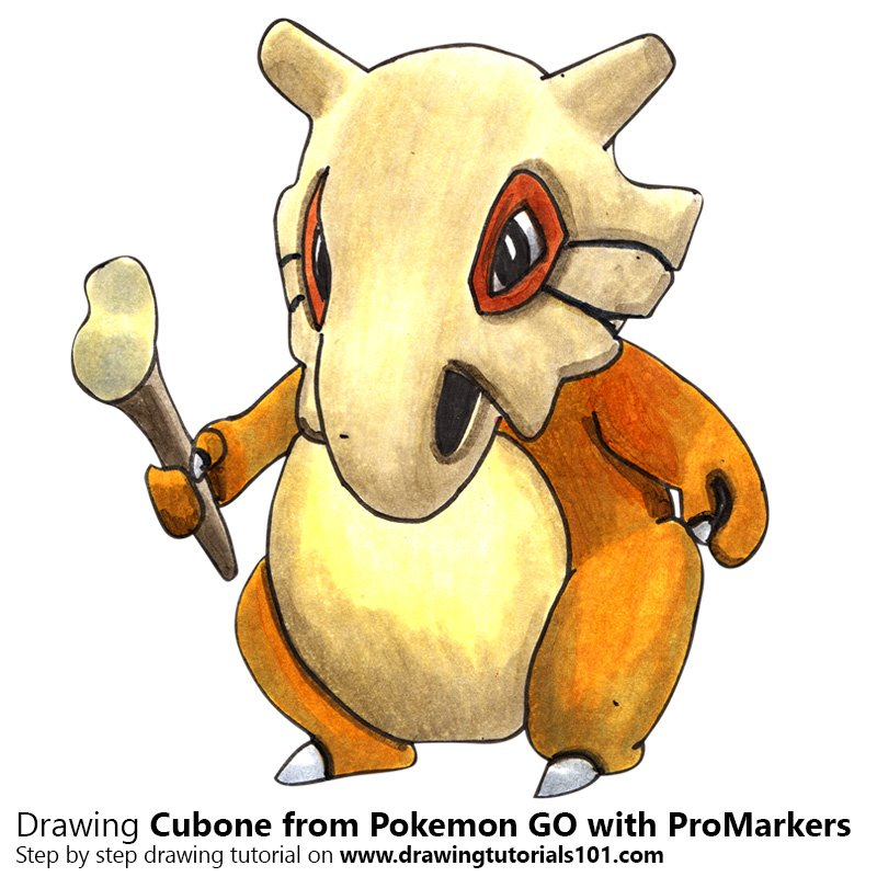 Cubone from Pokemon GO Color Pencil Drawing
