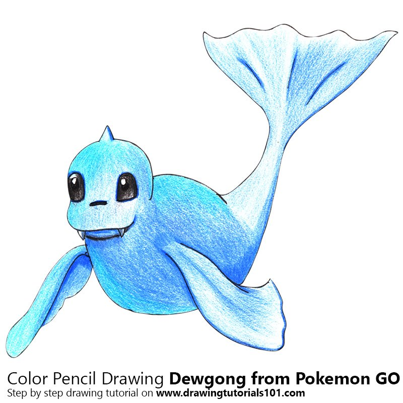 dewgong from pokemon go colored pencils drawing dewgong from