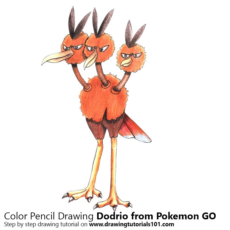 Dodrio from Pokemon GO Color Pencil Drawing