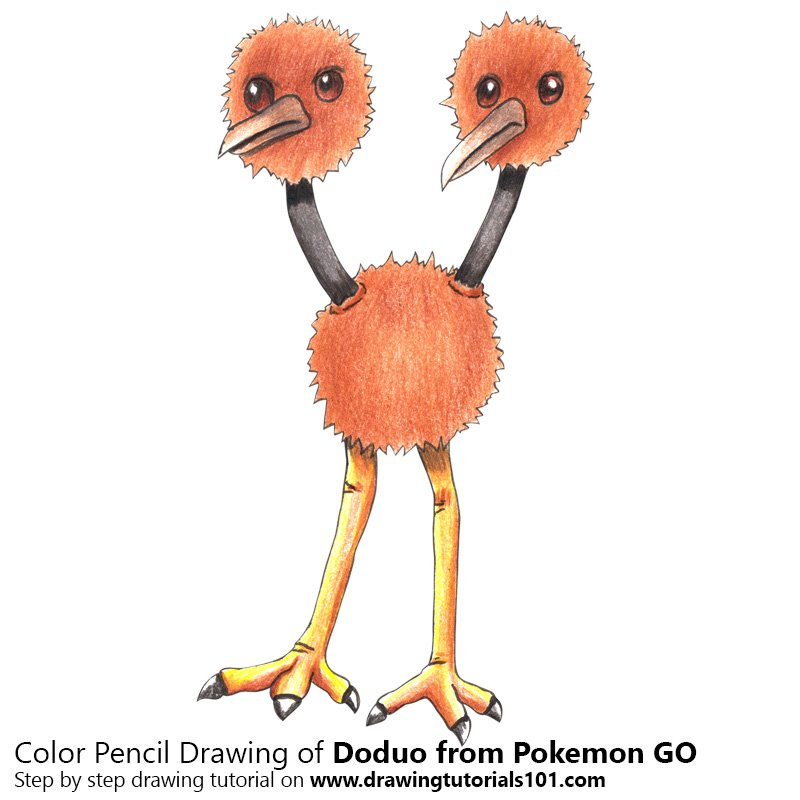 Doduo from Pokemon GO Color Pencil Drawing