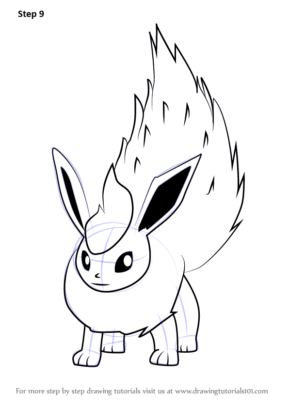 Step by step how to draw flareon from pokemon go for Flareon coloring page