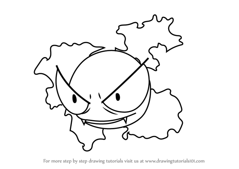 Learn How to Draw Gastly from Pokemon GO (Pokemon GO) Step ...